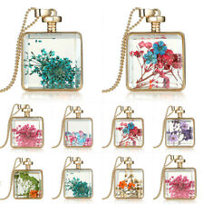 Elegant Charm Natural Rare Really Dried Flower Square Glass Pendant Necklace New