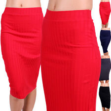 Banded Waist Stretch Pencil Midi Skirt Ribbed Knit Fitted Basic Career