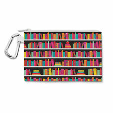 Library Book Case Canvas Zip Pouch - Pencil Case Multi Purpose Makeup Bag