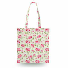 Pink Roses with Green Leaves Canvas Tote Bag - 16x16 inch Book Gym Bag