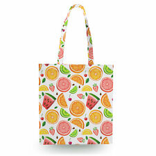 Summer Fruits Canvas Tote Bag - 16x16 inch Book Gym Bag Optional Zip