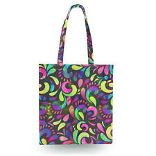 Neon Watercolor Swirls Canvas Tote Bag - 16x16 inch Book Gym Bag Optional Zip