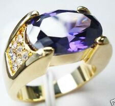 Jewelry Fashion Nice 10KT Yellow Gold Filled Amethyst Men's ring Size:10 11