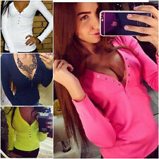 New Women Sexy Ladies Long Sleeve V-Neck Loose Bandage Button T-Shirt Top Blouse
