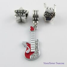 Guitar Rock Star Bead & Charm Gift Set fit European Charm Bracelet Blue or Red