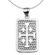 Sterling Silver Jerusalem Cross Engravable Dog Tag Pendant Necklace