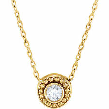 Beaded Slide Genuine Diamond 1/10 ctw Solitaire Necklace 14K. Solid Yellow Gold