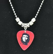 Tibetan Silver Che Guevara Guitar Pick Pendant Necklace  2.4mm Bead Chain Red