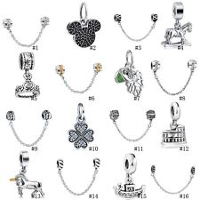 HOT Safe Chains European Pendant Beads Charms For Sterling Silver 925 Bracelets