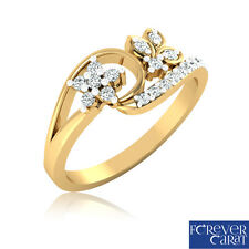 Natural & Real 0.25Ct Certified Round Cut Diamond Ring 18kt Hallmarked Gold Ring