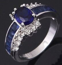 Women's Nice Jewelry Charming 10KT White Gold Filled Sapphire Ring Size:7 8 9