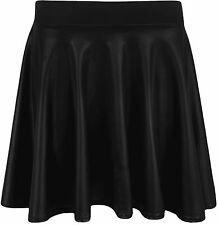 WOMENS BLACK WET LOOK SKATER SKIRT LADIES PVC SHINY PLUS SIZE OFFICE FORMAL 18