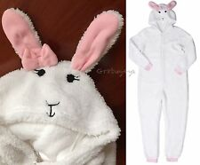NWT WHITE PLUSH BUNNY RABBIT 3D EARS ADULT HOODED PAJAMA ONESIE COSTUME SUIT