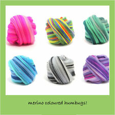 MERINO HUMBUG Colours Combed Wool Fibre Tops for Spinning