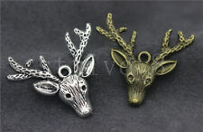 5/20/100pcs Tibet silver Beautiful Deer Head Jewelry Charms Pendant DIY 36x32mm