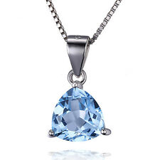 2.2ct Natural Sky Blue Topaz Neckalce Chain Pendant Solid 925 Sterling Silver