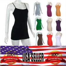 Women Basic Stretch SMALL SIZE Spaghetti Strap NO BRA Plain LONG Tank Top Cami
