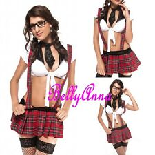 Sexy Ladies Naughty School Girl Red Plaid Uniform Halloween Fancy Dress Costume