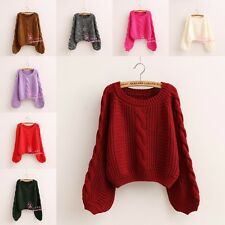 Women Cropped Cable Knit Chunky Pullover Baggy Loose Jumper Casual Top Sweater C