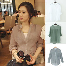 Women Loose Casual Fashion Short Sleeve V Neck Button Down Top Blouse Shirts
