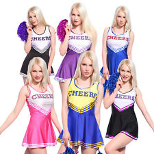 Ladies Cheerleader School Girl Fancy Dress Uniform Party Costume Outfit w/Pompom