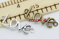 6/30/150pcs Tibet Silver/Bronze LOVE Charms pendant Connector Craft DIY 40x15mm