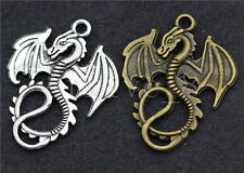 10/30/150pcs Tibet Silver/Bronze Beautiful Dragon Jewelry Charm Pendant 35x27mm