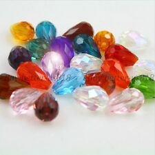 20Pcs Faceted Teardrop Crystal For Czech Crystal Loose Spacer Glass Beads 11MM