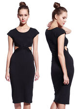Womens Party Knotted Bodycon High Waist Wiggle Pencil Midi Casual Dress 5 7 13