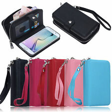 Zipper PU Leather Wallet Case Card Cash Holder For Samsung Note 5 S6 S7 Edge