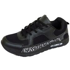 MENS BOYS RUNNING TRAINERS BLACK ZEBRA LACE GYM SPORTS CASUAL SHOES SIZE 6-11