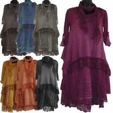 BN WOMENS QUIRKY ITALIAN LAGENLOOK LAYERED 3 PIECE LONG LACE CROCHET TUNIC DRESS