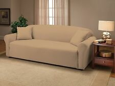 CREAM JERSEY COUCH STRETCH SLIPCOVER, FURNITURE COVERS, CHAIR LOVESEAT SOFA