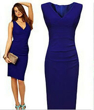 Sexy Women Bodycon V-Neck Sleeveless Evening Party Cocktail Short BlueMini Dress