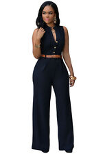 Sexy Women Casual Brief Belted Wide Leg V Neck Jumpsuit Romper Autumn sleeveless