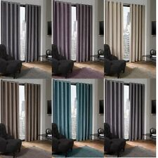PLAIN BLACKOUT THERMAL LINED EYELET JACQUARD CURTAINS SUEDE CHENILLE LOOK