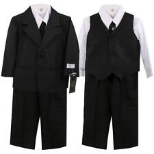 Boys Tuxedo w/ Tie Vest Formal Wedding Ring Bearer Suits Toddler Clothes #4005
