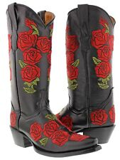 Womens black red embroidered western leather cowboy cowgirl boots flowers snip