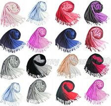 Fashion Long Solid Ladies Women Gradient Pashmina Scarf Wrap Shawl Double color