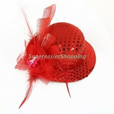 13.5cm Glitter Hat Fascinators Women Top Cap Hair Clip Flower Feather Headwear