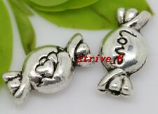 15/60/300pcs Tibetan Silver two-sided candy Jewelry Charms Spacer Beads 11x6mm