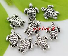 15/60/300pcs Tibetan Silver 3D Tortoise Jewelry Charms Spacer Beads DIY 9x7mm
