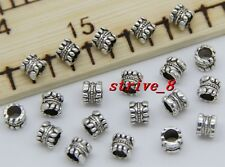 30/100/500pcs Antique Silver Cylinder Beads Jewelry Charms Spacer Beads 5x5mm