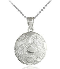 Sterling Silver Textured Futbol Soccer Ball Award Sports Pendant Necklace