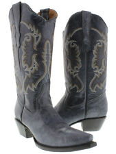 womens new blue leather cowboy cowgirl boots western wear rodeo snip toe new
