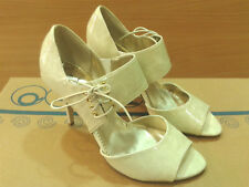 New Vintage Retro Pumps Heels Womens Shoes 50's 60's Beige Pin Up Rockabilly