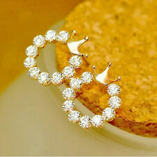 Fashion Women Elegant Crystal Rhinestone Crown/Bow Gold Plated Ear Stud Earring