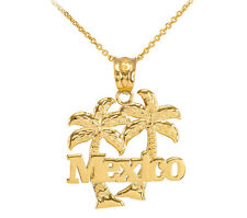 Yellow 14k Gold Mexico Palm Tree Pendant Necklace