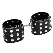 Quality leather Studded Hands Ankles Legs wrists cuffs Bondage restraints