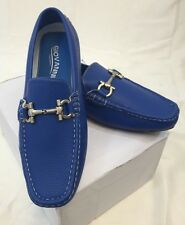 MEN GIOVANNI DRESS SHOES Loafer Casual Italian Slip-On Solid Blue White Stitch